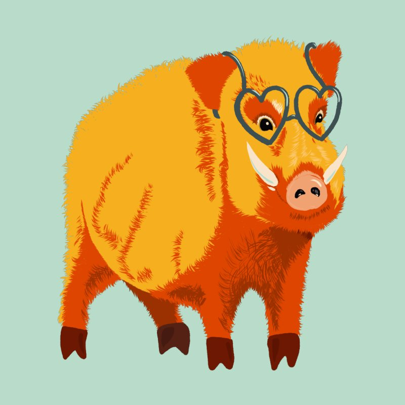 Funny Boar Pig With Heart Glasses by Boriana's Artist Shop