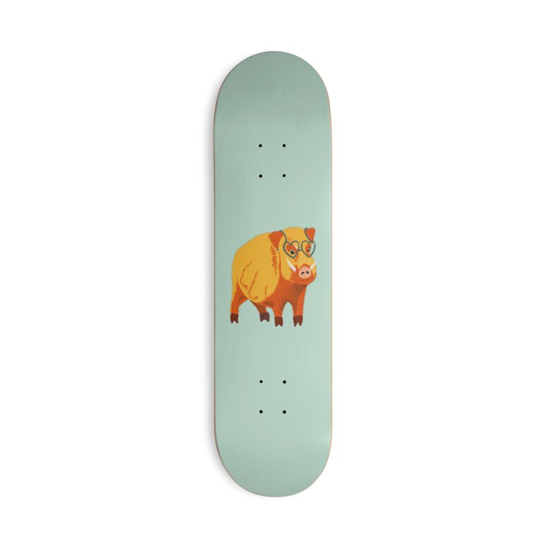 Funny Boar Pig With Heart Glasses Accessories Deck Only Skateboard by Boriana's Artist Shop