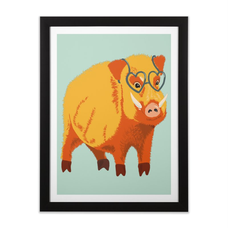 Funny Boar Pig With Heart Glasses Home Framed Fine Art Print by Boriana's Artist Shop
