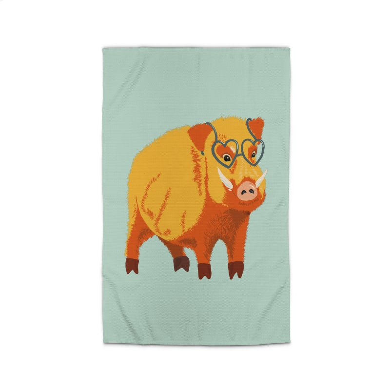 Funny Boar Pig With Heart Glasses Home Rug by Boriana's Artist Shop