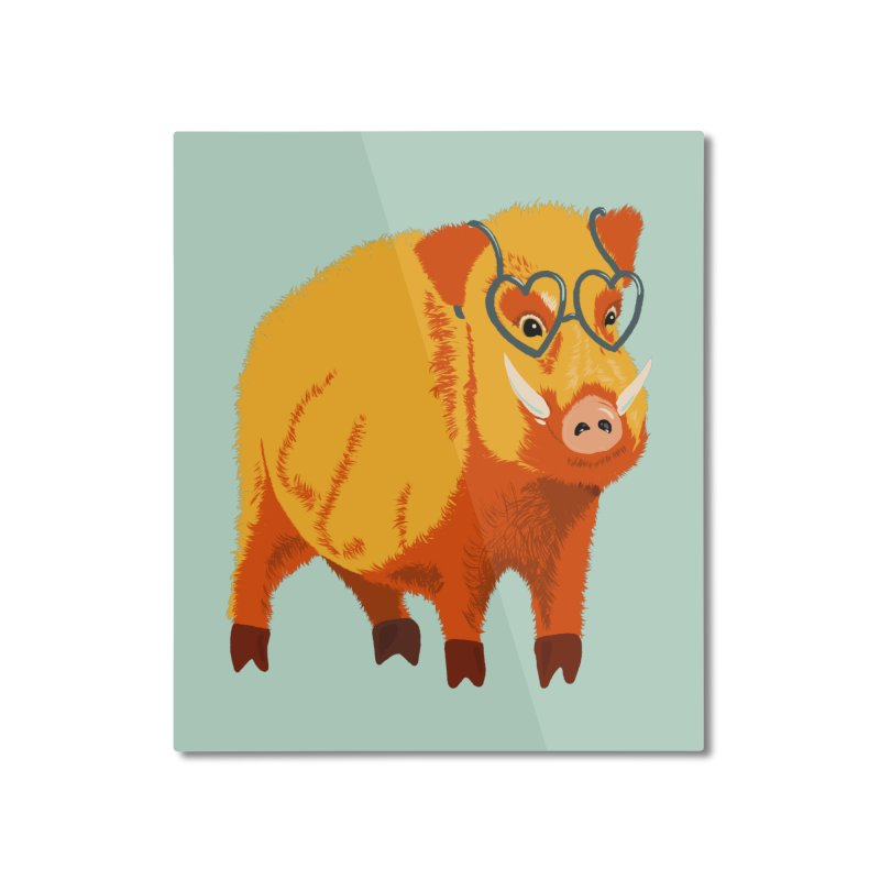 Funny Boar Pig With Heart Glasses Home Mounted Aluminum Print by Boriana's Artist Shop