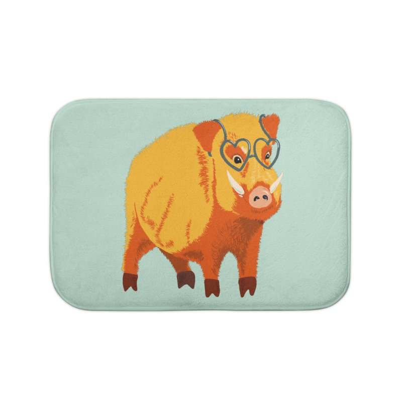 Funny Boar Pig With Heart Glasses Home Bath Mat by Boriana's Artist Shop