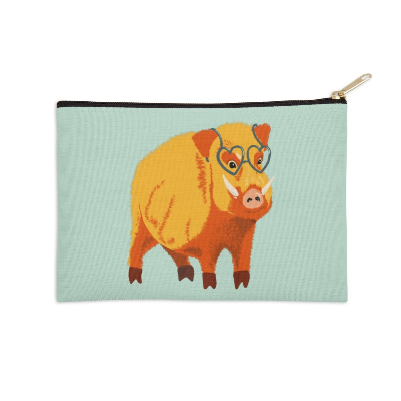Funny Boar Pig With Heart Glasses Accessories Zip Pouch by Boriana's Artist Shop
