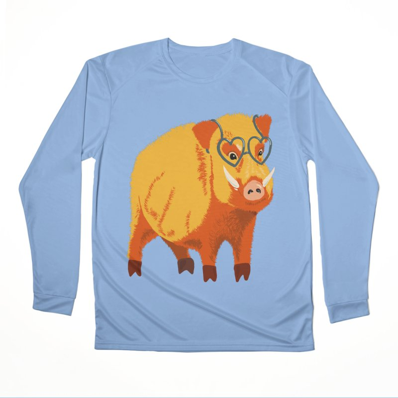 Funny Boar Pig With Heart Glasses Men's Performance Longsleeve T-Shirt by Boriana's Artist Shop