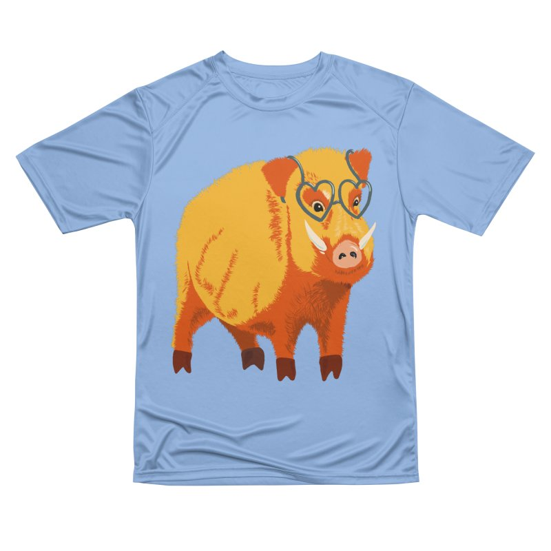 Funny Boar Pig With Heart Glasses Women's Performance Unisex T-Shirt by Boriana's Artist Shop