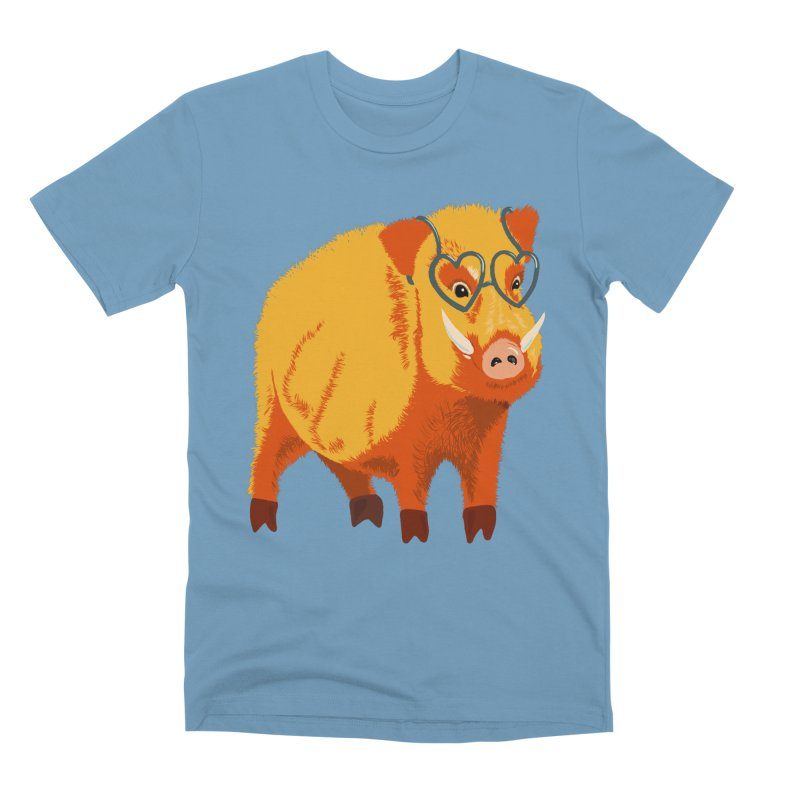 Funny Boar Pig With Heart Glasses Men's Premium T-Shirt by Boriana's Artist Shop