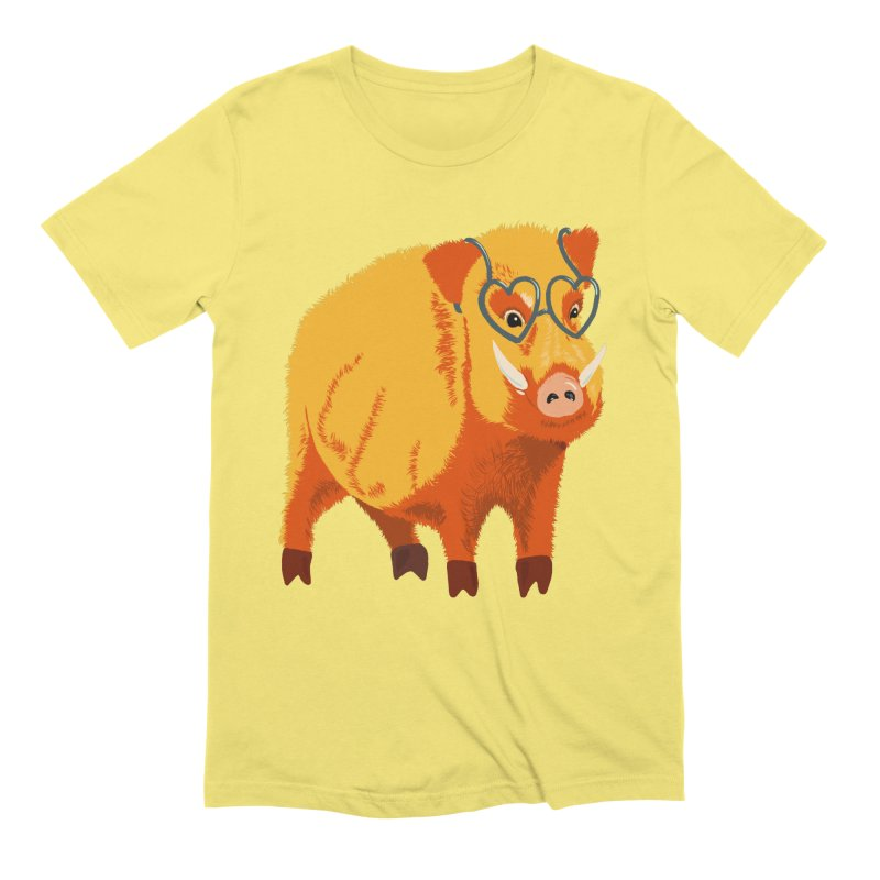 Funny Boar Pig With Heart Glasses Men's Extra Soft T-Shirt by Boriana's Artist Shop