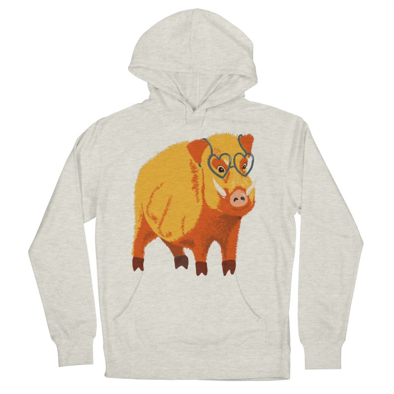 Funny Boar Pig With Heart Glasses Women's French Terry Pullover Hoody by Boriana's Artist Shop