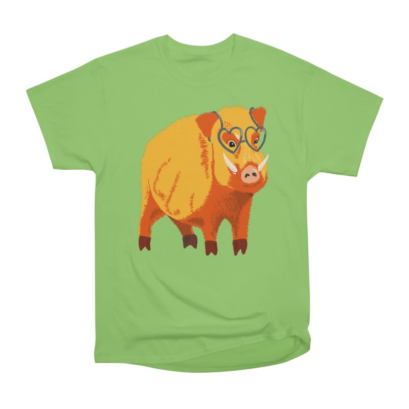 Funny Boar Pig With Heart Glasses Men's Heavyweight T-Shirt by Boriana's Artist Shop