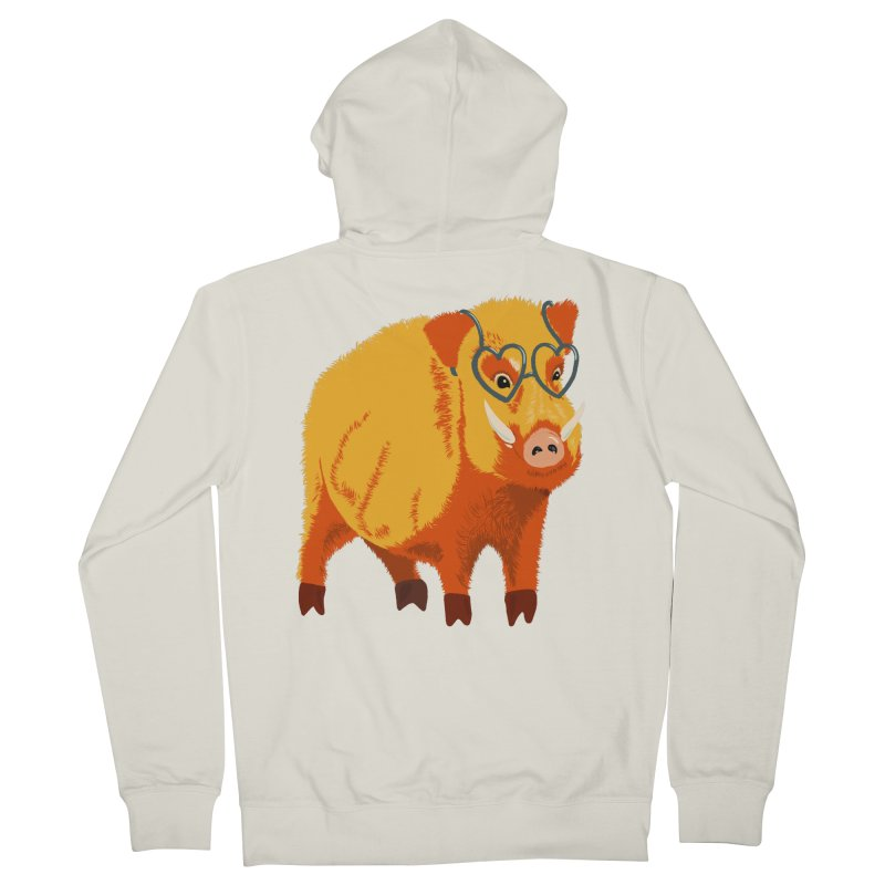 Funny Boar Pig With Heart Glasses Women's French Terry Zip-Up Hoody by Boriana's Artist Shop