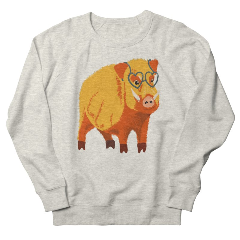Funny Boar Pig With Heart Glasses Women's French Terry Sweatshirt by Boriana's Artist Shop