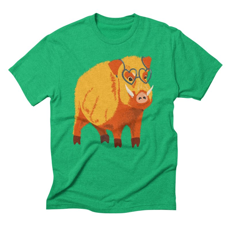 Funny Boar Pig With Heart Glasses Men's Triblend T-Shirt by Boriana's Artist Shop