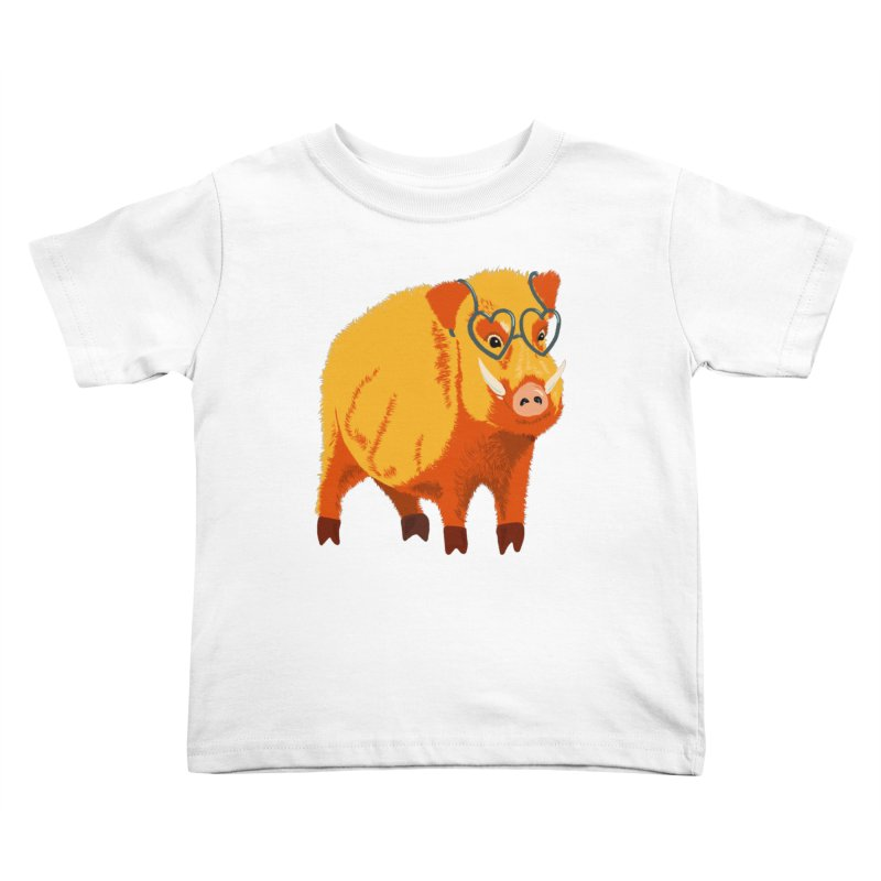 Funny Boar Pig With Heart Glasses Kids Toddler T-Shirt by Boriana's Artist Shop