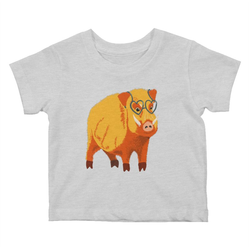 Funny Boar Pig With Heart Glasses Kids Baby T-Shirt by Boriana's Artist Shop