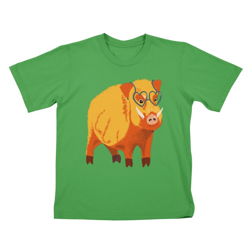 Funny Boar Pig With Heart Glasses Kids T-Shirt by Boriana's Artist Shop