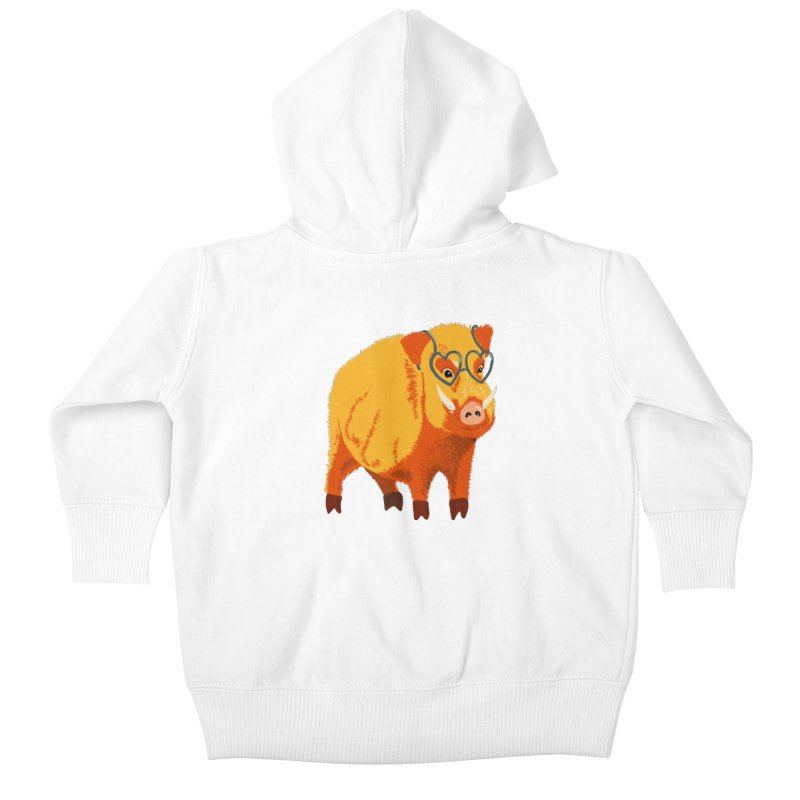 Funny Boar Pig With Heart Glasses Kids Baby Zip-Up Hoody by Boriana's Artist Shop
