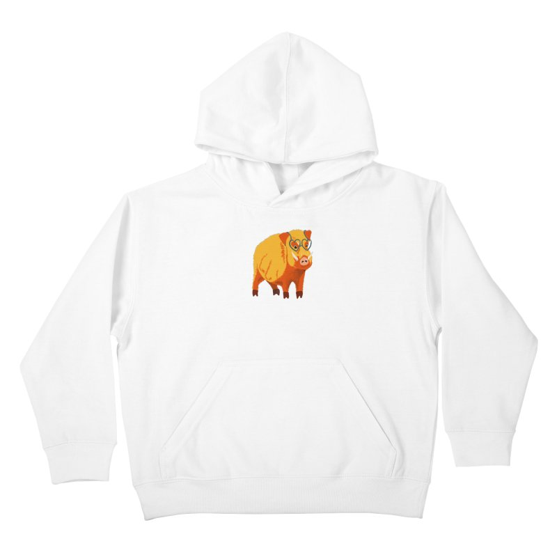 Funny Boar Pig With Heart Glasses Kids Pullover Hoody by Boriana's Artist Shop