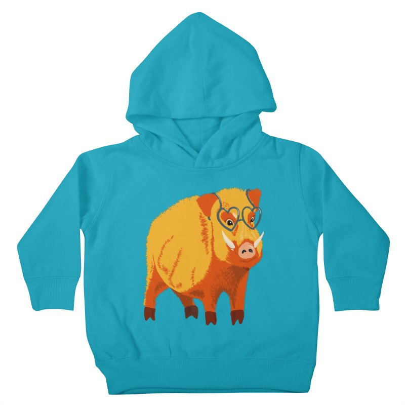 Funny Boar Pig With Heart Glasses Kids Toddler Pullover Hoody by Boriana's Artist Shop