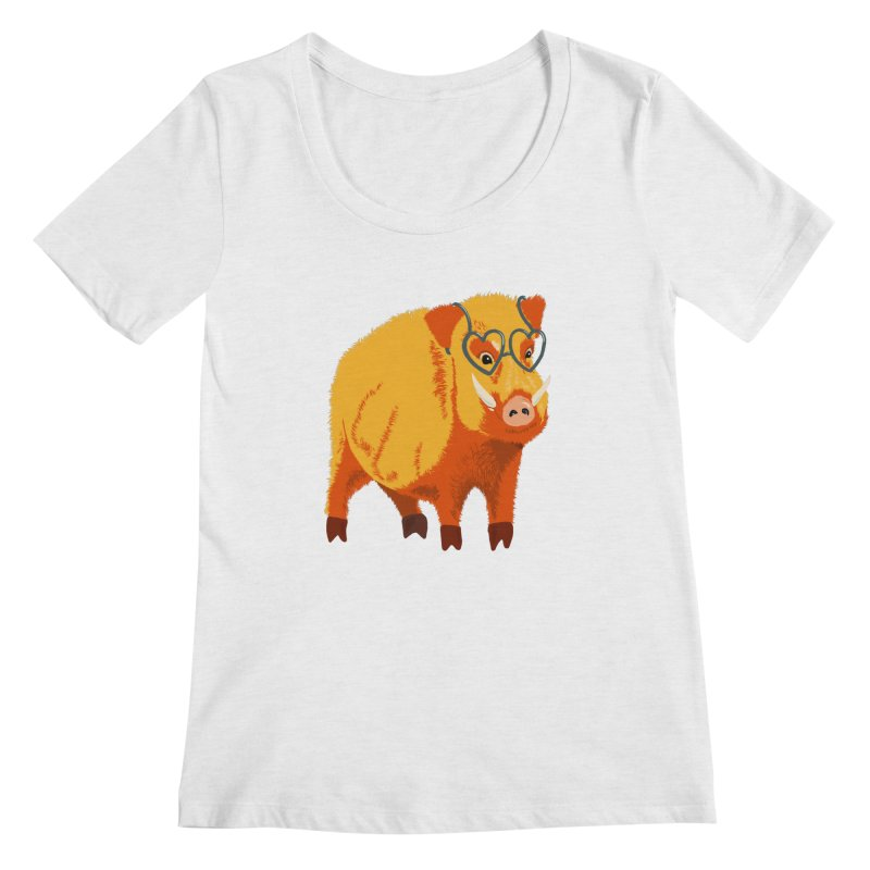 Funny Boar Pig With Heart Glasses Women's Regular Scoop Neck by Boriana's Artist Shop