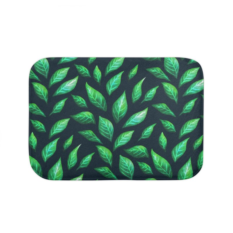 Dark Abstract Painted Green Leaves Home Bath Mat by Boriana's Artist Shop