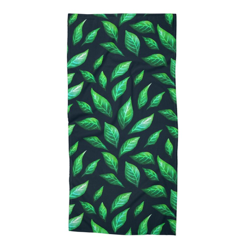 Dark Abstract Painted Green Leaves Accessories Beach Towel by Boriana's Artist Shop