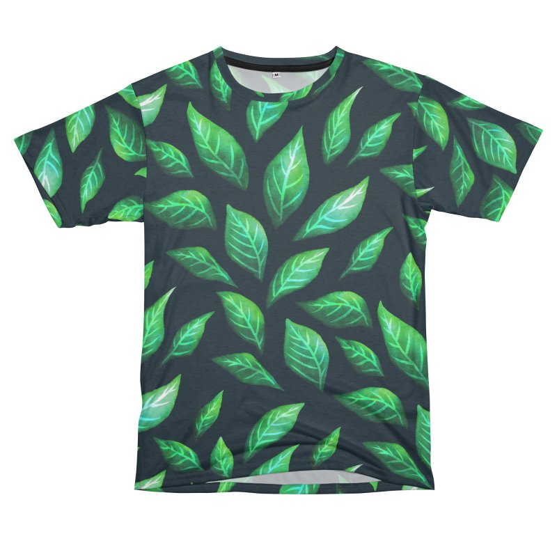 Dark Abstract Painted Green Leaves Men's French Terry T-Shirt Cut & Sew by Boriana's Artist Shop