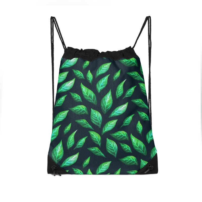 Dark Abstract Painted Green Leaves Accessories Drawstring Bag Bag by Boriana's Artist Shop