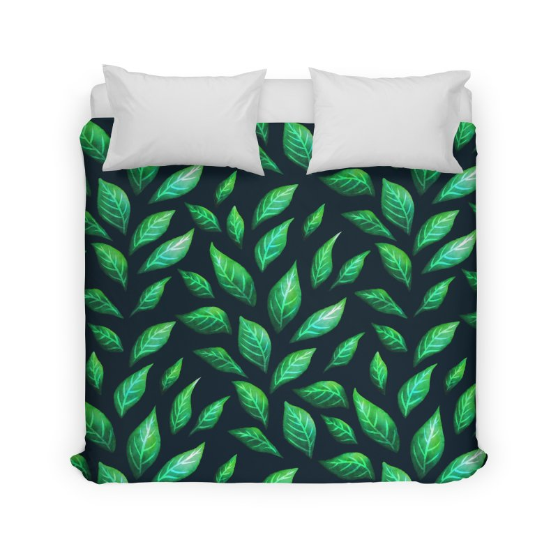 Dark Abstract Painted Green Leaves Home Duvet by Boriana's Artist Shop