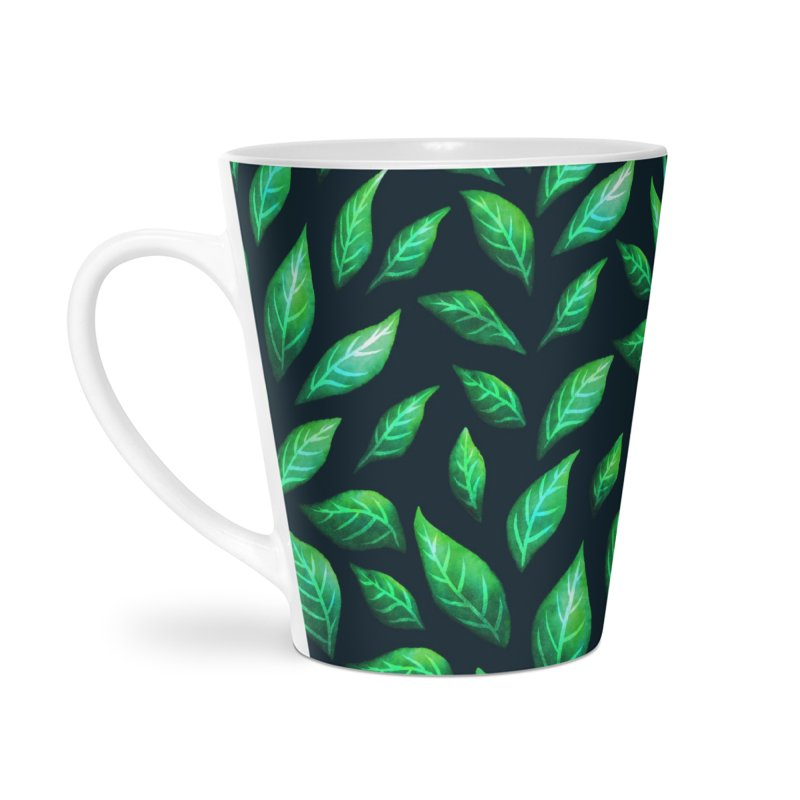 Dark Abstract Painted Green Leaves Accessories Mug by Boriana's Artist Shop
