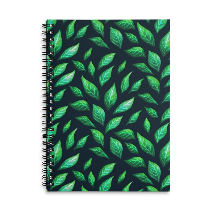 Dark Abstract Painted Green Leaves Accessories Lined Spiral Notebook by Boriana's Artist Shop
