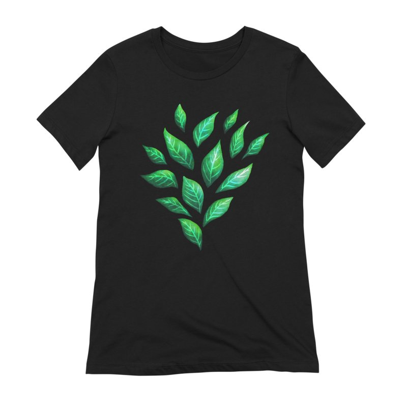 Dark Abstract Painted Green Leaves Women's T-Shirt by Boriana's Artist Shop