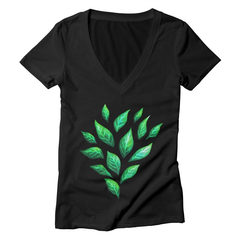 Dark Abstract Painted Green Leaves Women's Deep V-Neck V-Neck by Boriana's Artist Shop