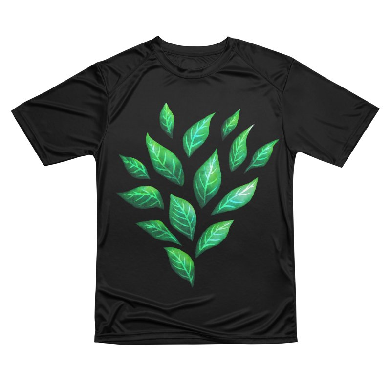 Dark Abstract Painted Green Leaves Women's Performance Unisex T-Shirt by Boriana's Artist Shop