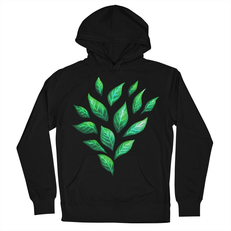 Dark Abstract Painted Green Leaves Women's French Terry Pullover Hoody by Boriana's Artist Shop