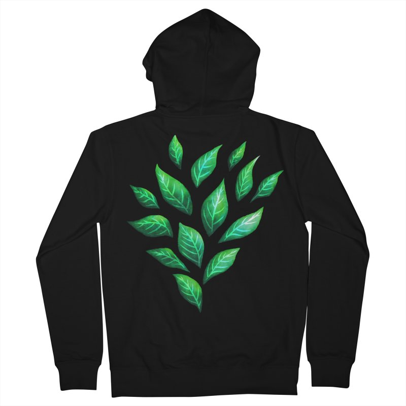 Dark Abstract Painted Green Leaves Women's French Terry Zip-Up Hoody by Boriana's Artist Shop