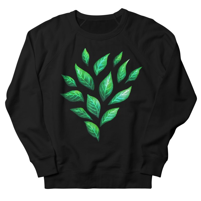 Dark Abstract Painted Green Leaves Women's French Terry Sweatshirt by Boriana's Artist Shop