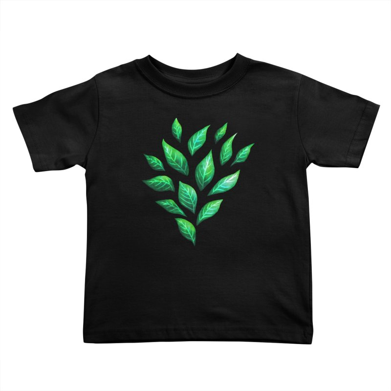 Dark Abstract Painted Green Leaves Kids Toddler T-Shirt by Boriana's Artist Shop
