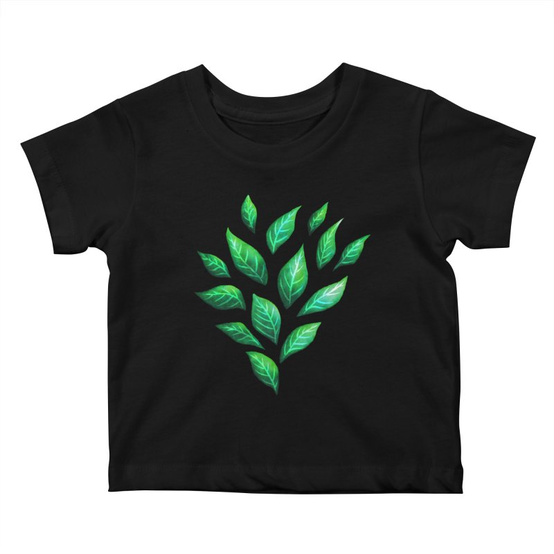 Dark Abstract Painted Green Leaves Kids Baby T-Shirt by Boriana's Artist Shop
