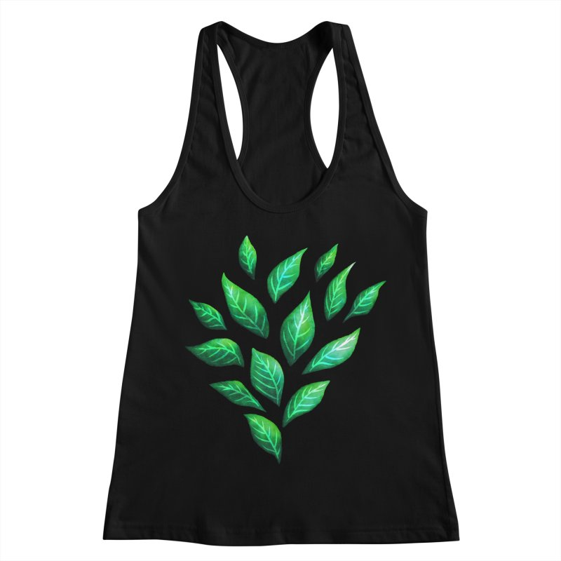 Dark Abstract Painted Green Leaves Women's Racerback Tank by Boriana's Artist Shop