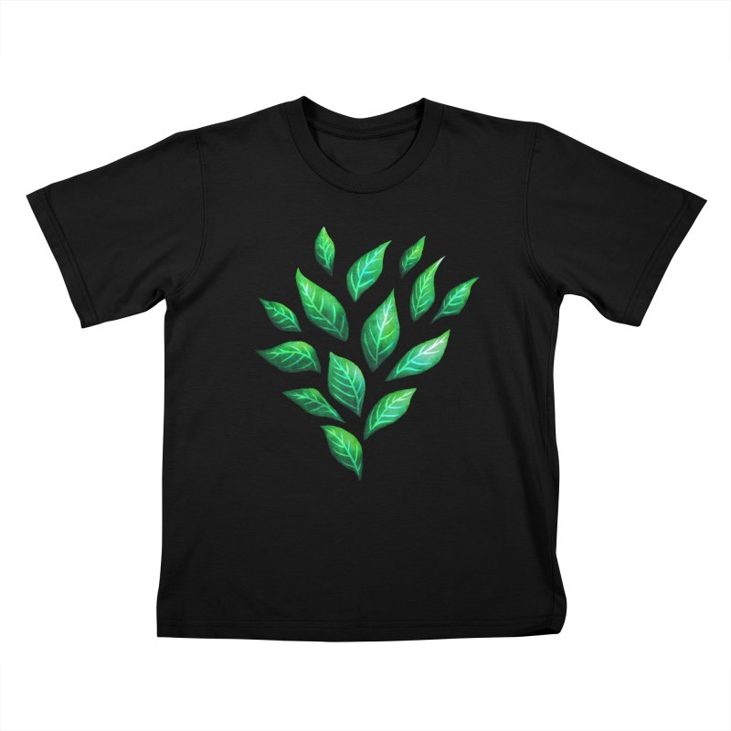Dark Abstract Painted Green Leaves Kids T-Shirt by Boriana's Artist Shop