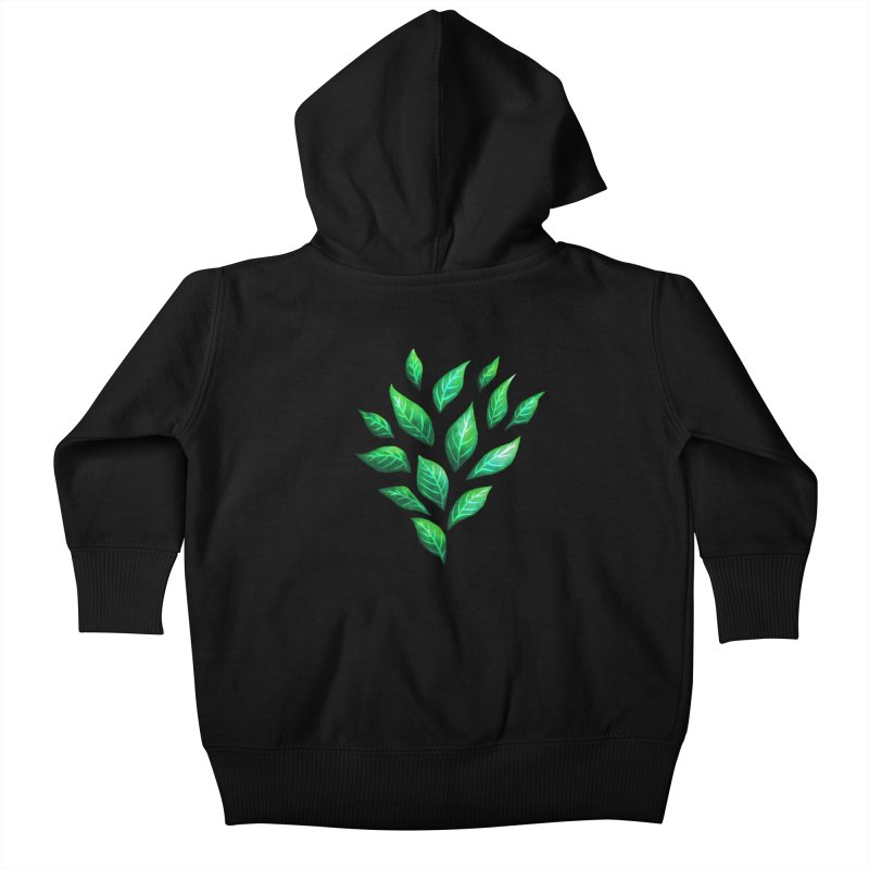Dark Abstract Painted Green Leaves Kids Baby Zip-Up Hoody by Boriana's Artist Shop