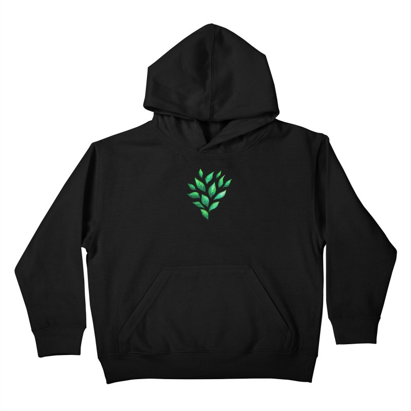 Dark Abstract Painted Green Leaves Kids Pullover Hoody by Boriana's Artist Shop