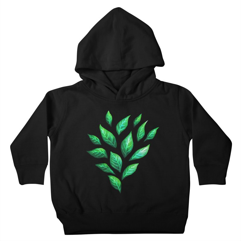 Dark Abstract Painted Green Leaves Kids Toddler Pullover Hoody by Boriana's Artist Shop