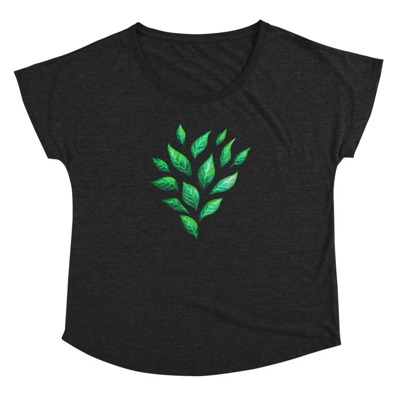 Dark Abstract Painted Green Leaves Women's Dolman Scoop Neck by Boriana's Artist Shop