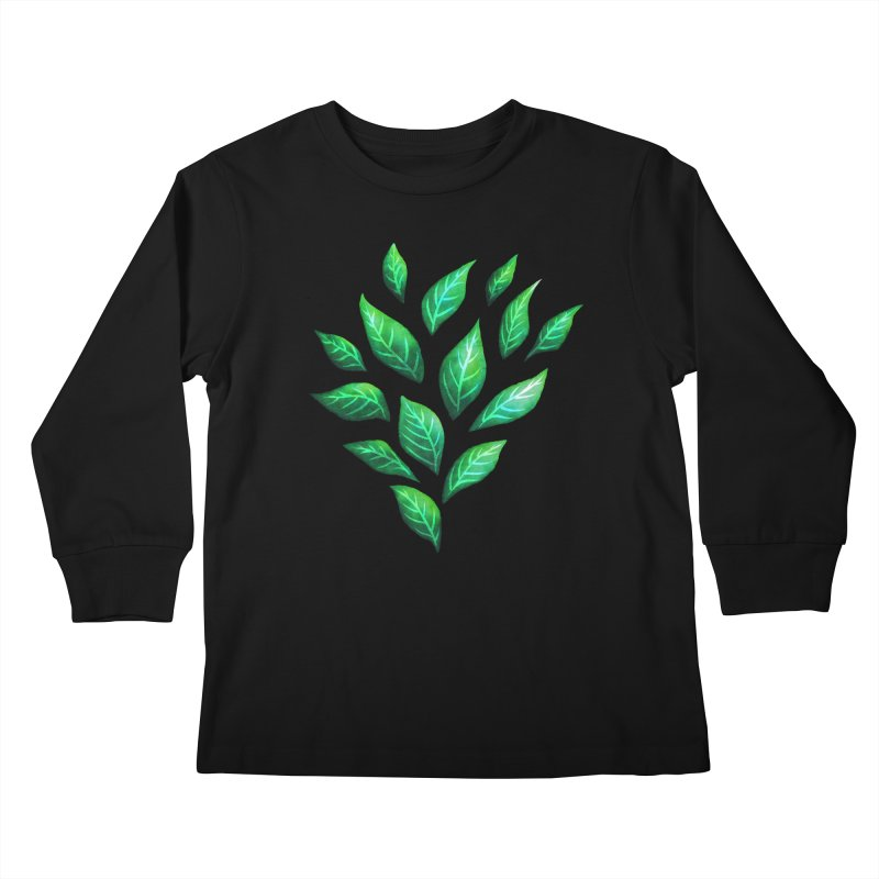 Dark Abstract Painted Green Leaves Kids Longsleeve T-Shirt by Boriana's Artist Shop