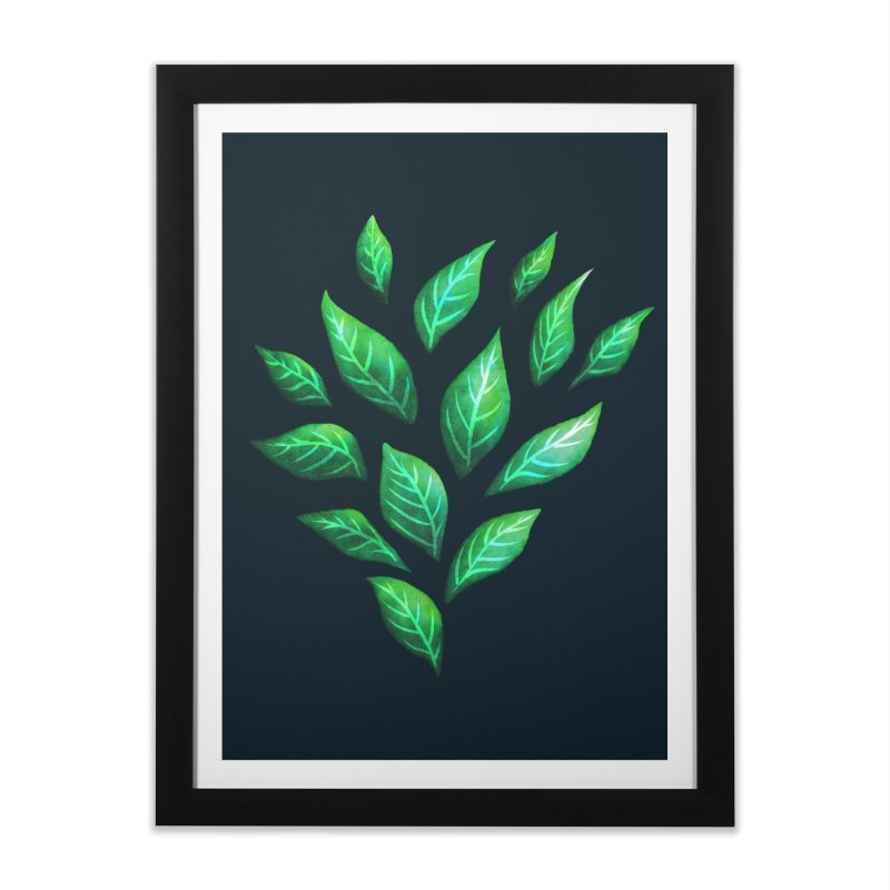 Dark Abstract Painted Green Leaves Home Framed Fine Art Print by Boriana's Artist Shop