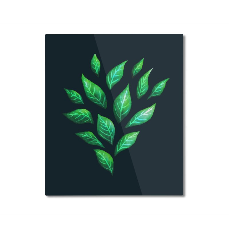 Dark Abstract Painted Green Leaves Home Mounted Aluminum Print by Boriana's Artist Shop