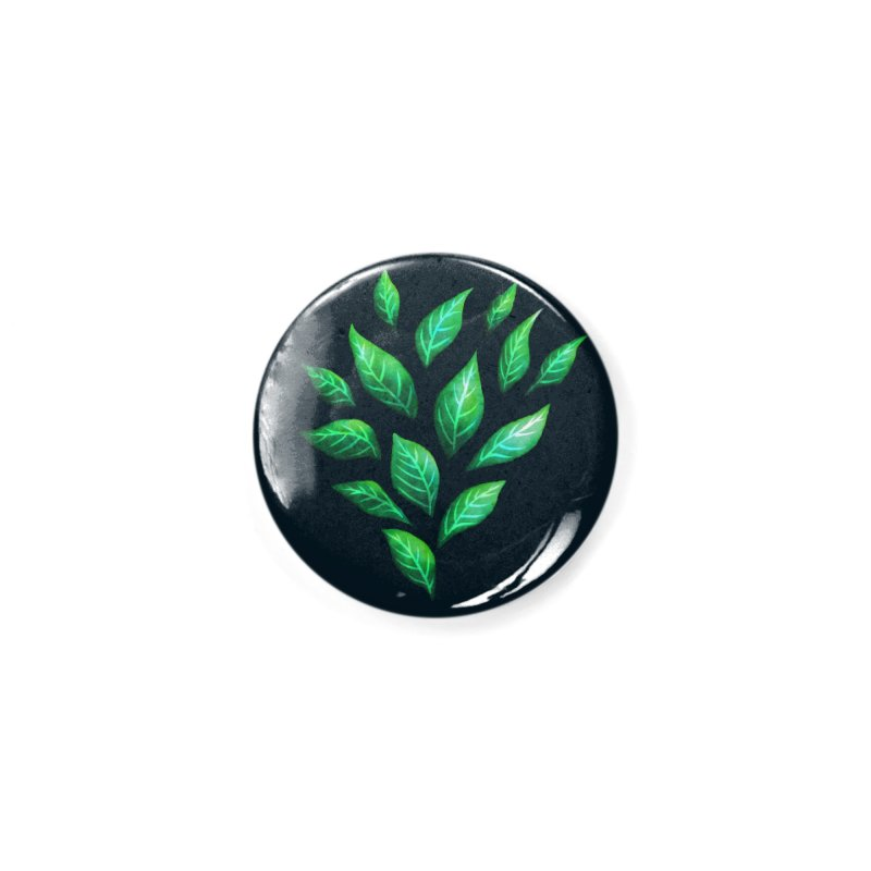 Dark Abstract Painted Green Leaves Accessories Button by Boriana's Artist Shop