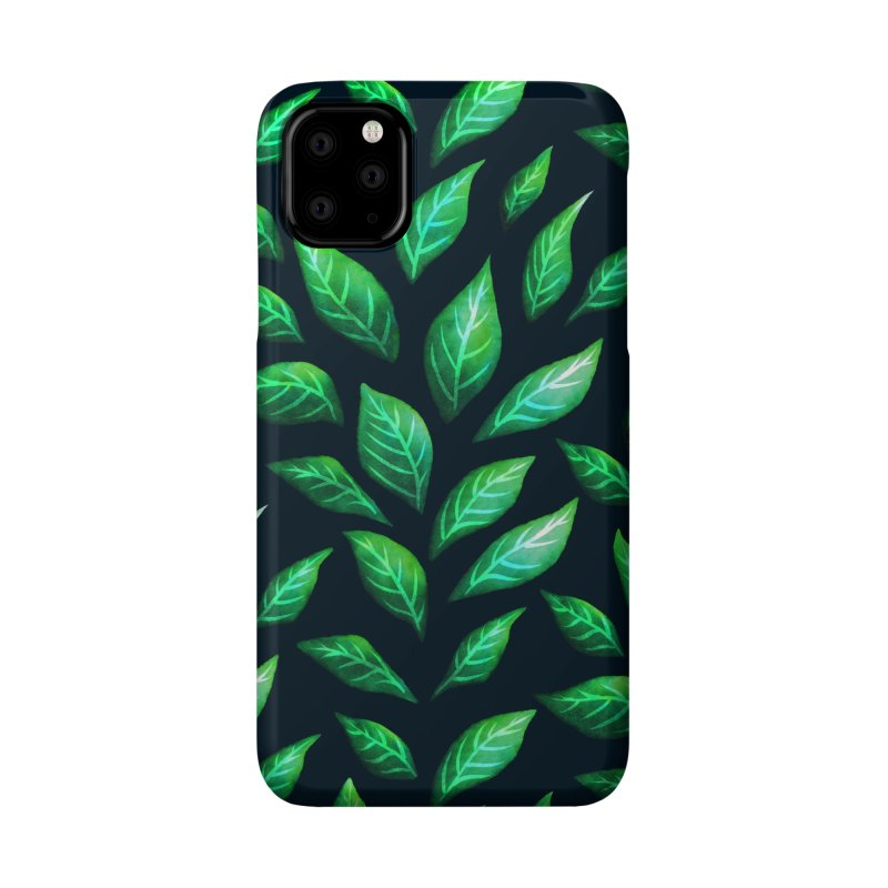 Dark Abstract Painted Green Leaves Accessories Phone Case by Boriana's Artist Shop