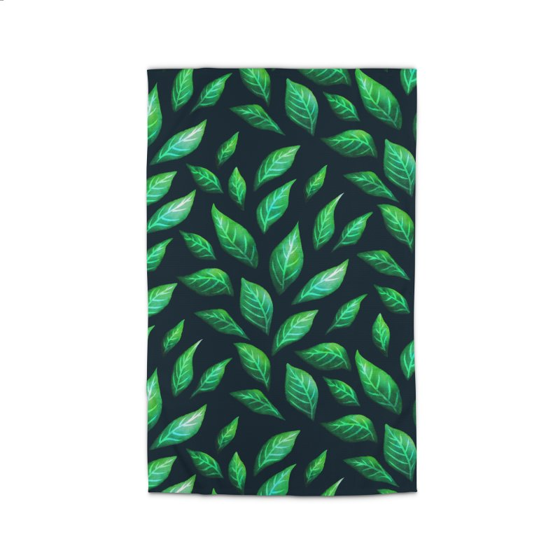 Dark Abstract Painted Green Leaves Home Rug by Boriana's Artist Shop